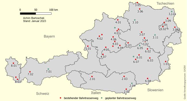 Karte Wien Niederosterreich.Bahntrassenradeln Osterreich Achim Bartoschek